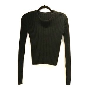 Sweaters - Green Cropped Ribbed Sweater